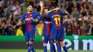 Luis Suarez, Lionel Messi, Ousmane Dembele, Barcelona - Juventus, Champions League, 09122017