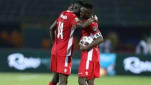 Michael Olunga celebrates goal with Victor Wanyama of Kenya.