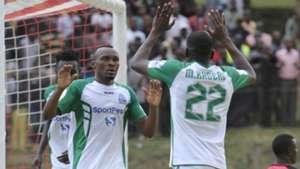 Gor Mahia striker Meddie Kagere and Jacques Tuyisenge.