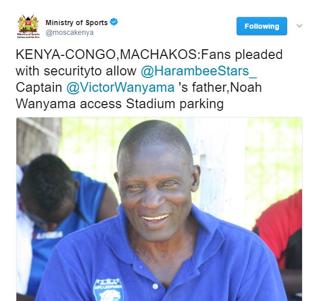 Tweet on Noah Wanyama