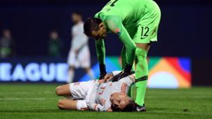 Kalinic and Iago Aspas during the game Croatia - Spain