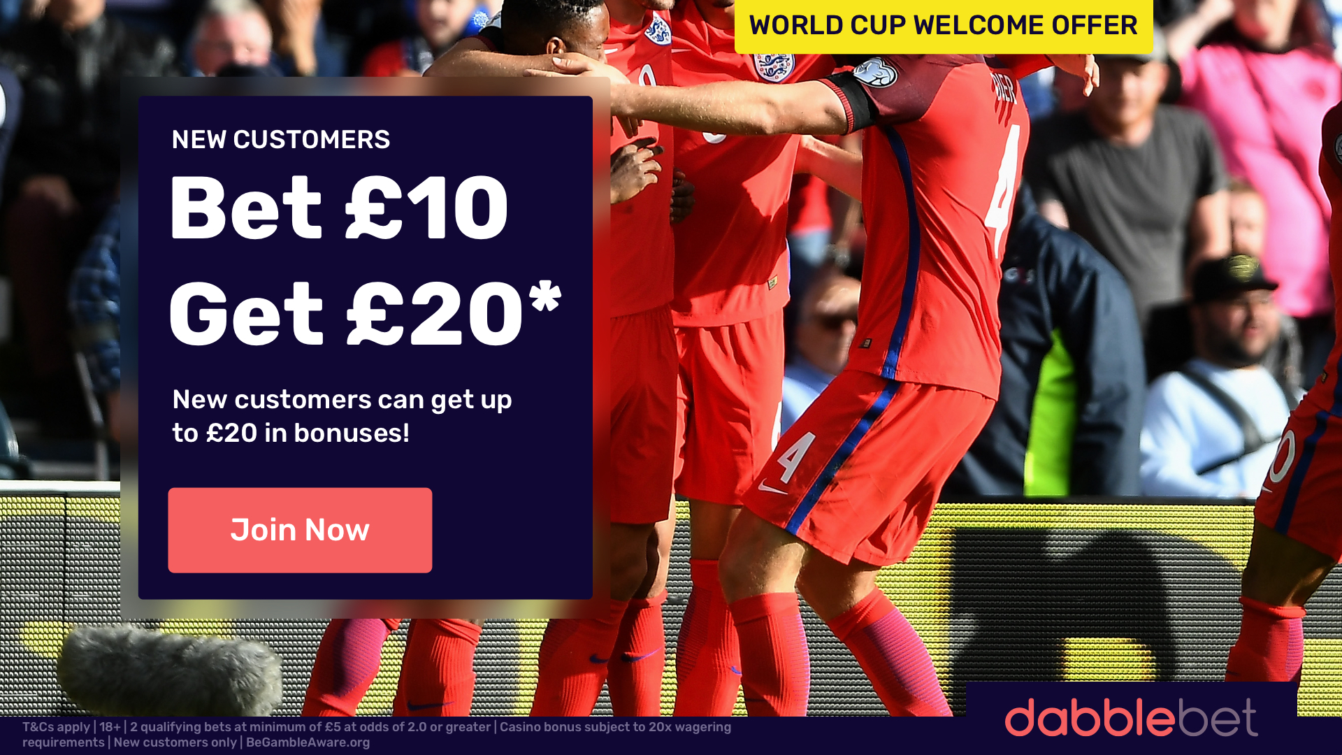 dabblebet get 10 get 20 offer in article