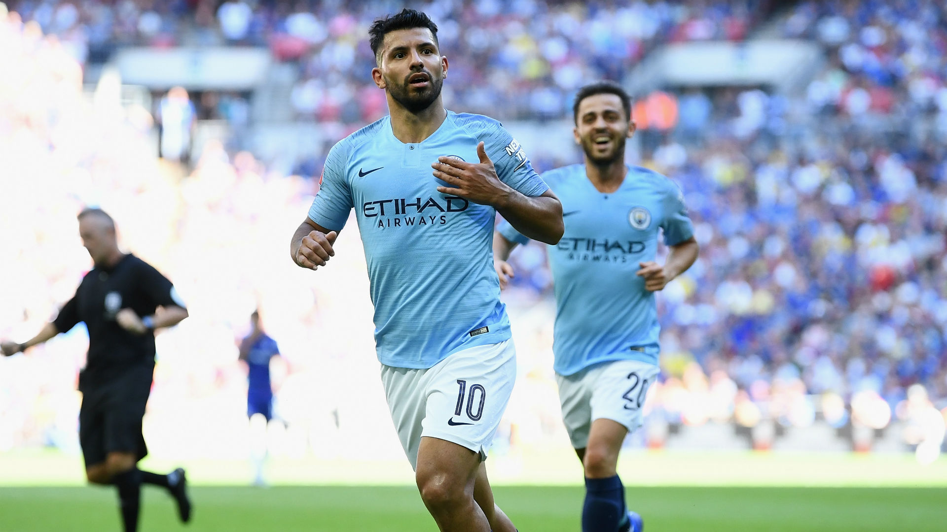Sergio Aguero Manchester City Chelsea Community Shield 2018