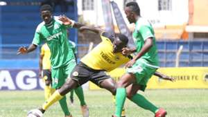 Gor Mahia Cercidy Okeyo and Collins Shivachi of Tusker.