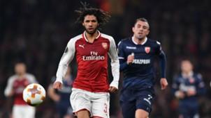 Mohamed Elneny Nenad Krsticic Arsenal Red Star Belgrade Europa League