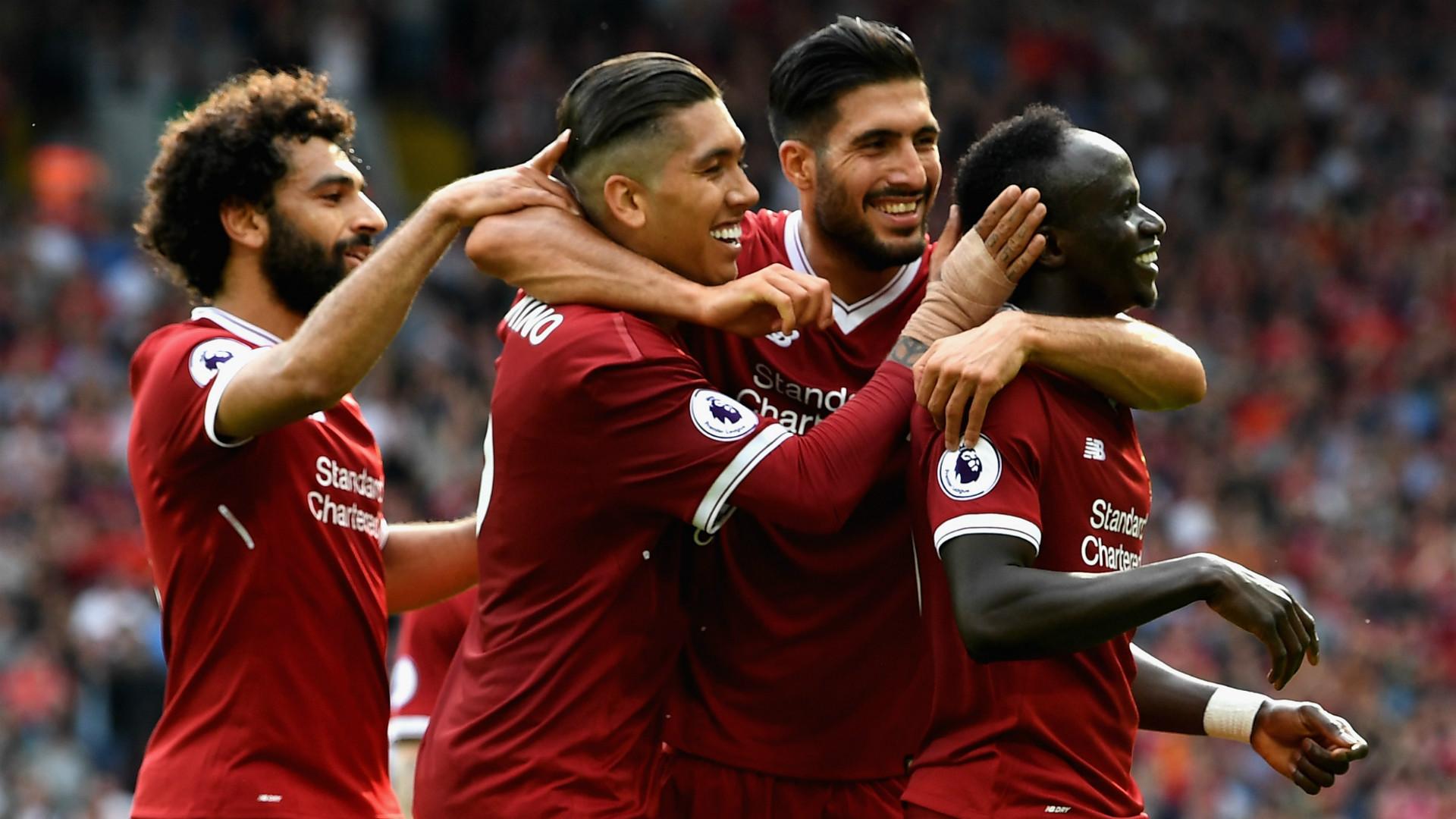 Liverpool celebrate Mane Firmino Can Salah