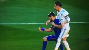 Agresión Ramos a Luis Suarez