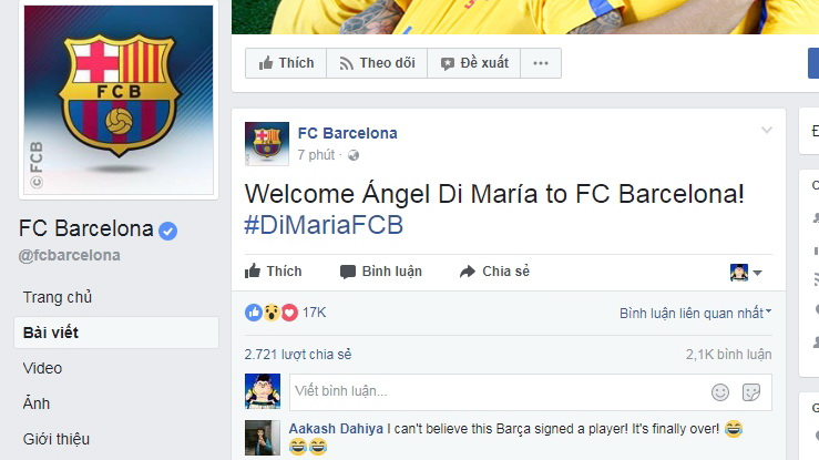 Barcelona fan page hacked