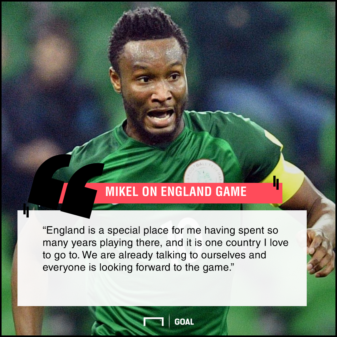 Mikel on England friendly