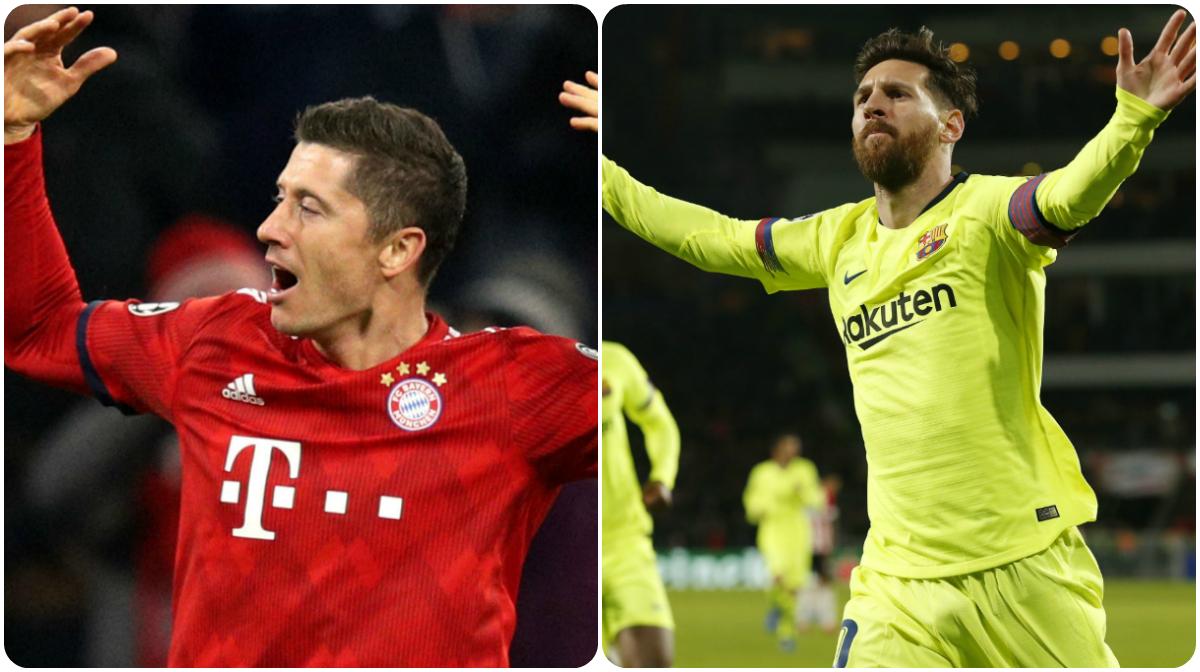 Robert Lewandowski Lionel Messi GFX