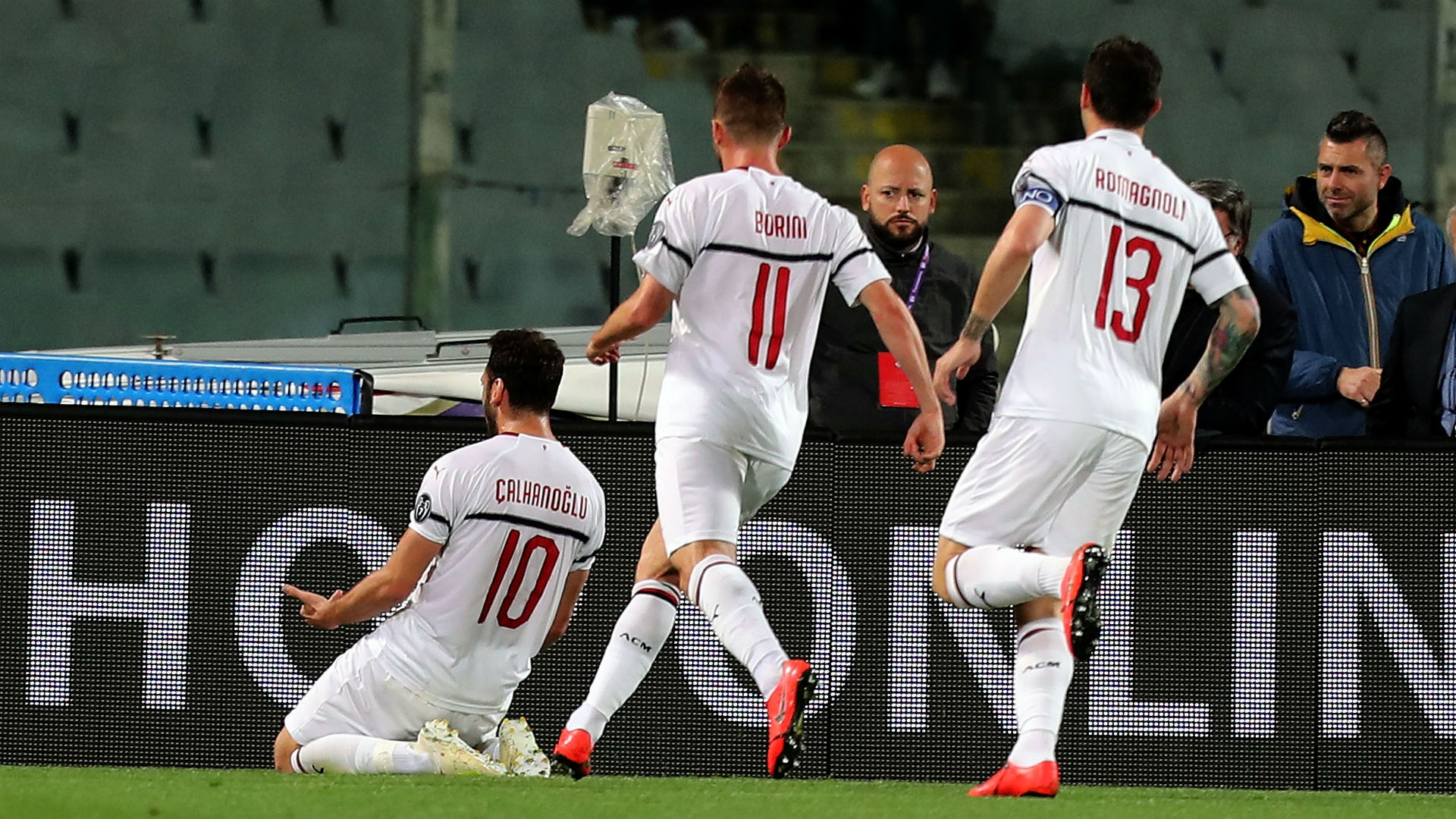 Milan celebrating Fiorentina Milan Serie A