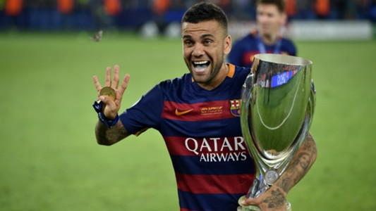 Dani Alves Barcelona Super Cup trophy