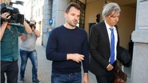 Club Brugge's Ivan Leko and Lawyer Walter Van Steenbrugge