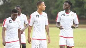 Harambee Stars players Eric Ouma Ismael Gonzalez and Jesse Were.