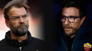urgen Klopp of Liverpool and Head Coach of AS Roma Eusebio Di Francesco