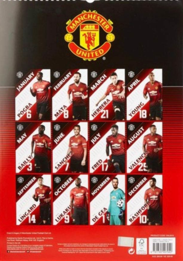 Manchester United official 2019 calendar