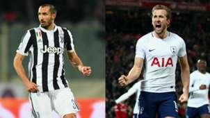 Giorgio Chiellini Harry Kane collage Juventus Tottenham UEFA Champions League