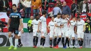 Sevilla celebrating Sevilla Lazio Europa League