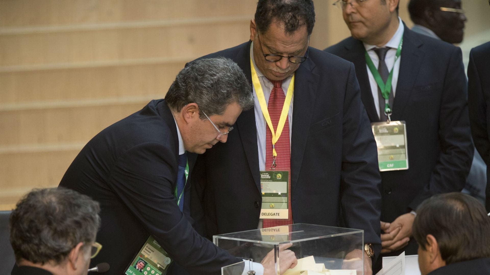 SAFA President Danny Jordaans casts his vote at Caf election