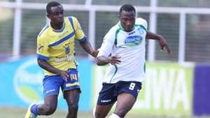 Fredrick Shimonyo of Western Stima tackle Longinus Chibueze of Thika United