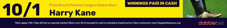 Harry Kane 10/1 Golden Boot dabblebet footer