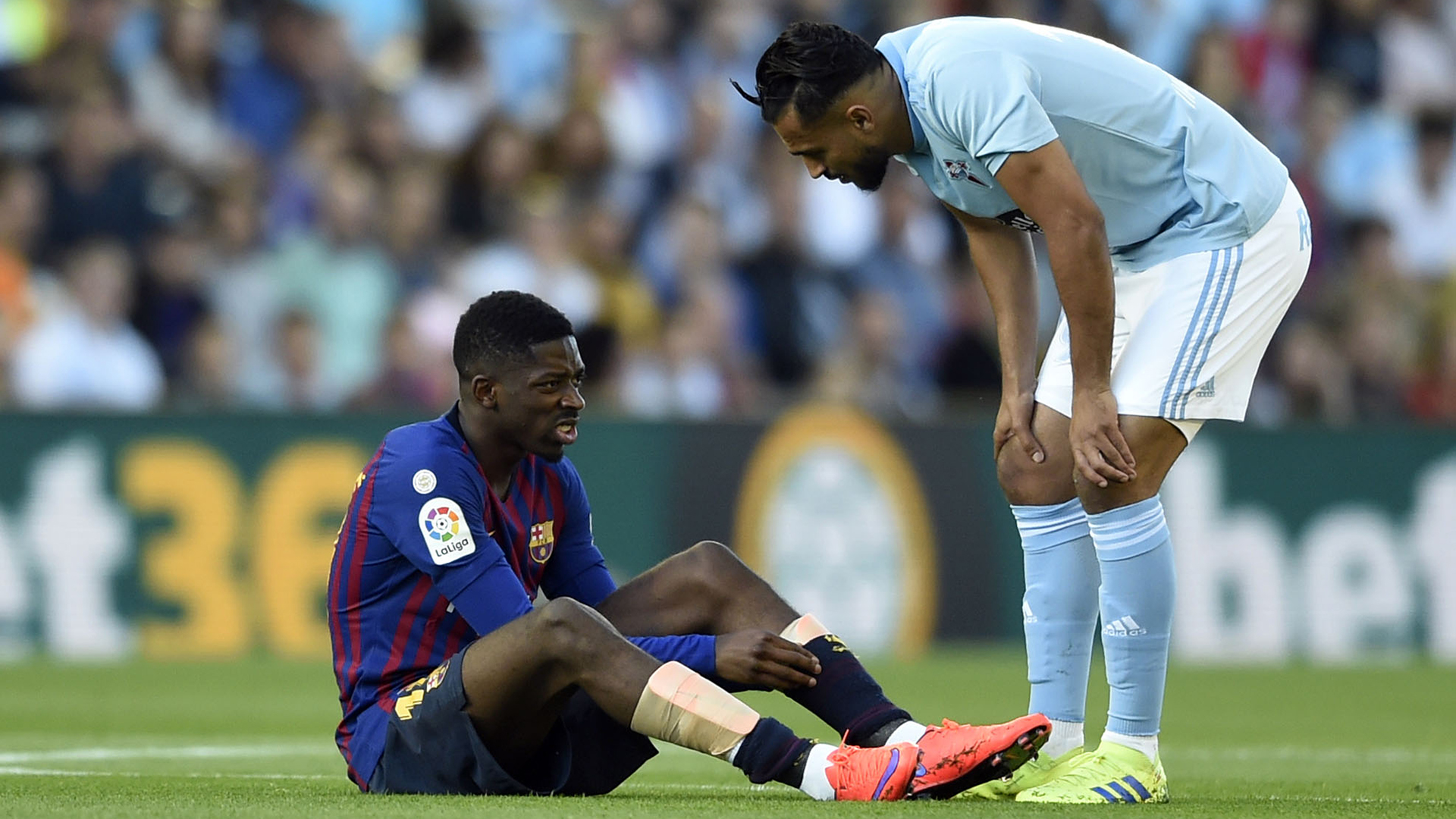 Dembele goes off with hamstring injury in Vigo after just five minutes