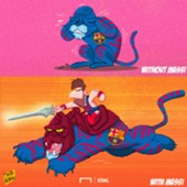 Cartoon Messi and Barca