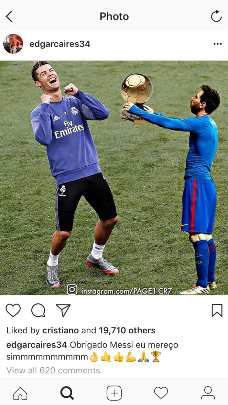 Cristiano Ronaldo Lionel Messi Instagram