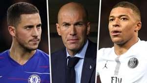Eden Hazard, Zinedine Zidane and Kylian Mbappe