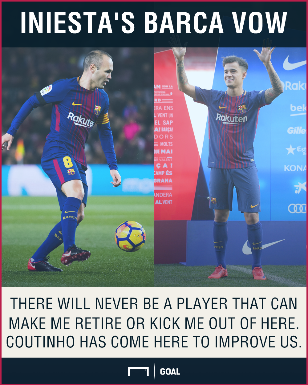 Andres Iniesta Philppe Coutinho won't retire