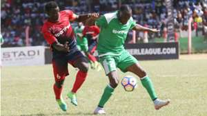 AFC Leopards captain Duncan Otieno v Meddie Kagere of Gor Mahia.