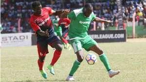 AFC Leopards captain Duncan Otieno v Meddie Kagere of Gor Mahia.