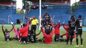 Nzoia Sugar players celebrate after draw.