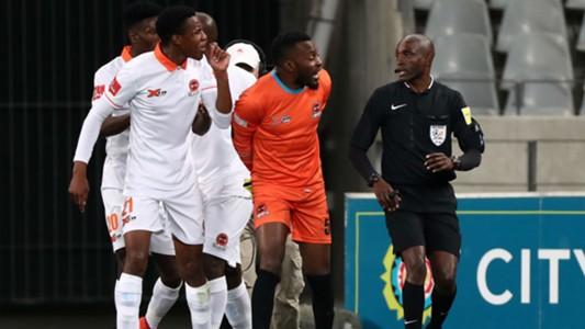 Polokwane City players Sammy Seabi & Harold Ndlovu with referee Cedric Muvhali