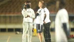 Gor Mahia coach Dylan Kerr and Zedekiah Otieno.j
