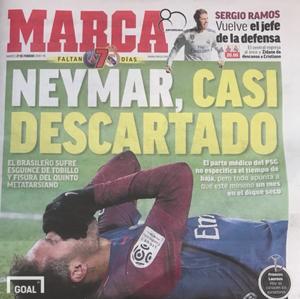 27일(현지시간) 스페인 현지 신문 마르카 1면에 보도된 네이마르의 부상. 사진=골닷컴 이하영 에디터
