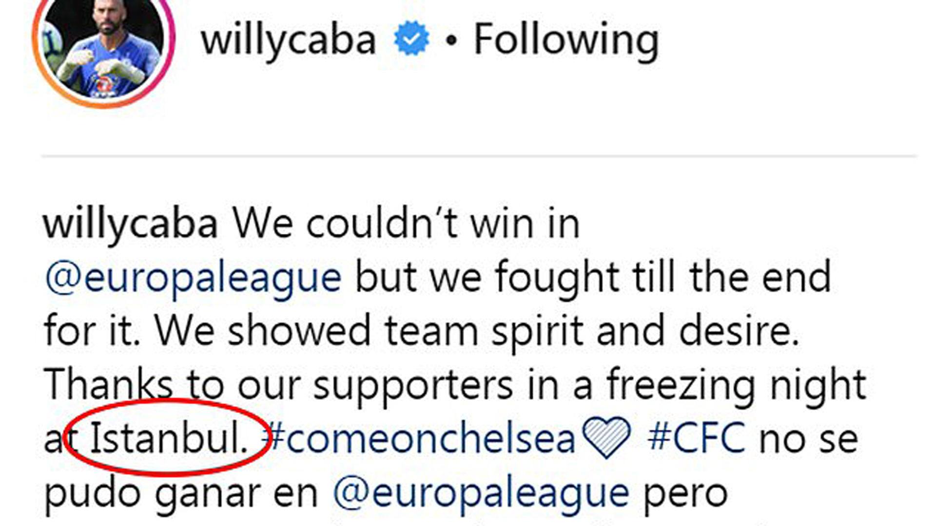 Willy Caballero post Budapest Istanbul