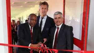 Dr Irvin Khoza (Chairman of the PSL) (l), Edwin van der Sar (CEO of Ajax Amsterdam) (c) and Ari Efstathiou (Chairman of Ajax Cape Town), November 2018