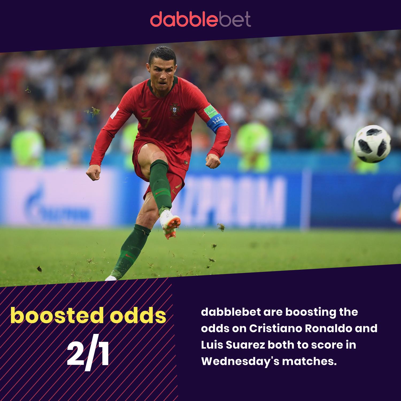 World Cup day seven dabblebet enhanced odds Ronaldo and Suarez