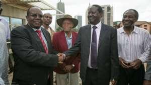 Sam Nyamweya and Raila Odinga.