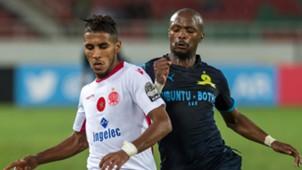 Wydad's Mohammed Ounnajem and Mamelodi Sundowns' Tebogo Langerman