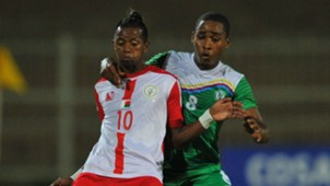 Faouz Attoumane of Comoros tackles Adriamirado Dax of Madagascar, May 2018