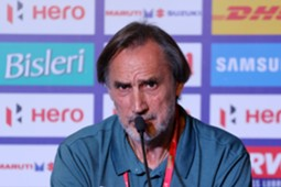 Delhi Dynamos FC coach Miguel çngel Portugal speaks during the press conference