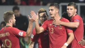 Portugal celebrate Andre Silva goal vs Poland