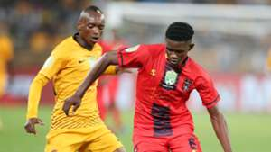 Bathusi Aubaas of TS Galaxy challenged by Khama Billiat of Kaizer Chiefs, May 2019