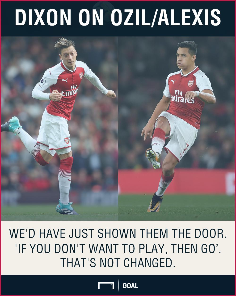 Lee Dixon Mesut Ozil Alexis Sanchez Arsenal shown door