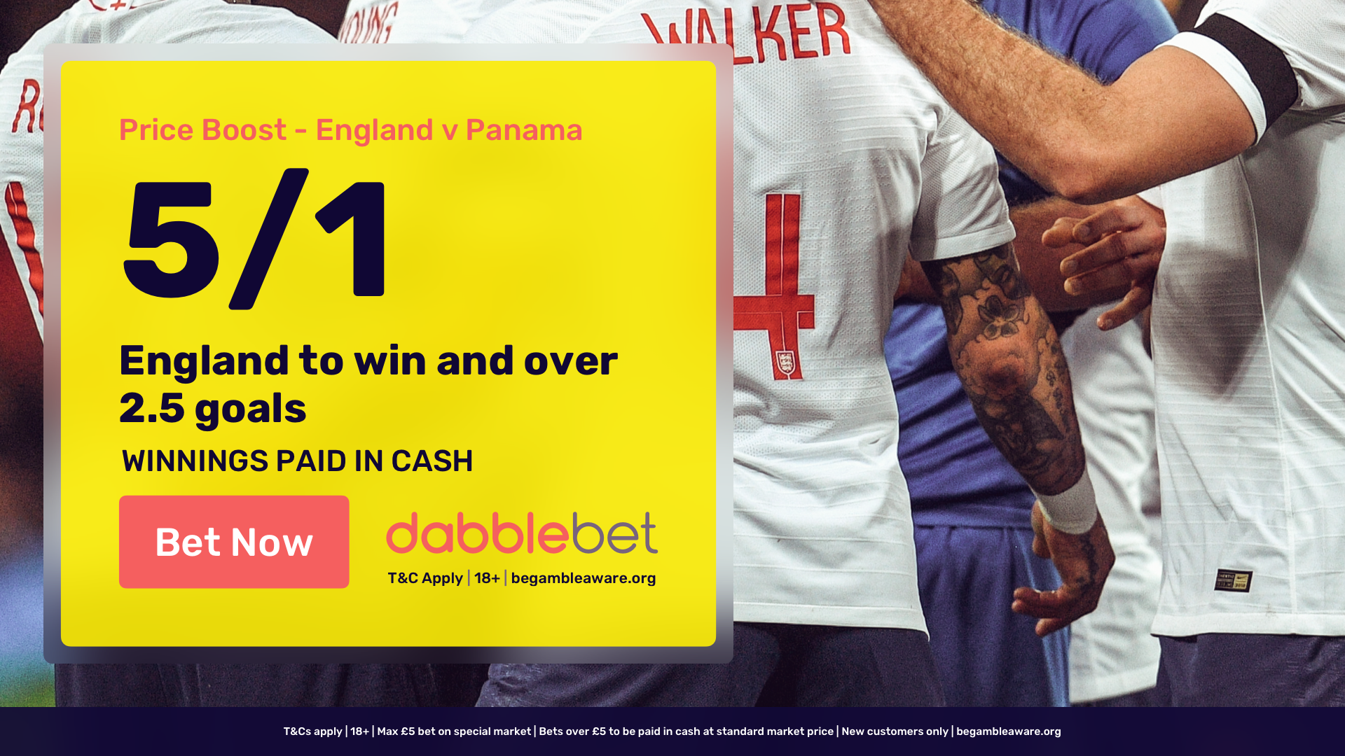 dabblebet new customer offer England v Panama