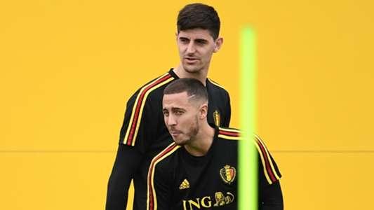 Eden Hazard Thibaut Courtois Belgium World Cup 2018
