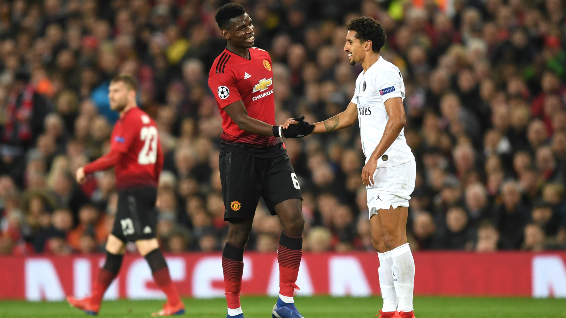 Paul Pogba Marquinhos Manchester United PSG Champions League 12022018