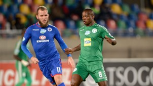 Jeremy Brockie, SuperSport United & Lantshane Phalane, Bloemfontein Celtic